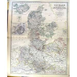 DENMARK GERMAN EMPIRE JOHNSTON ANTIQUE MAP 1883 PRUSSIA