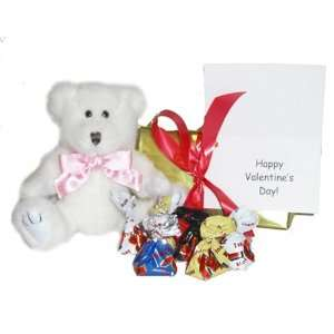 Bear, Satin Pink Bow, Box of Chocolates, and Gift Note Toys & Games