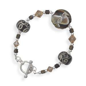 Lampwork Glass and Crystal Bead Toggle Bracelet West