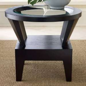 0230 Morgan Round Glass End Table in Espresso FR: Home & Kitchen