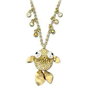 Swarovski Crystal Lychee Fish Pendant Gold Jewelry