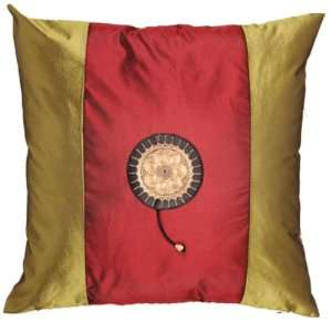 EXP Handmade Silky Red & Olive Green Cushion Cover