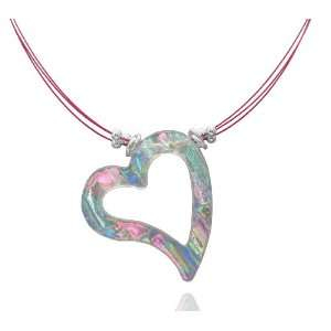Glass Translucent Multi Color Heart Shaped Necklace, 18 Jewelry
