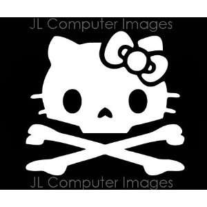 HELLO KITTY SKULL WHITE DECAL 6 X 6