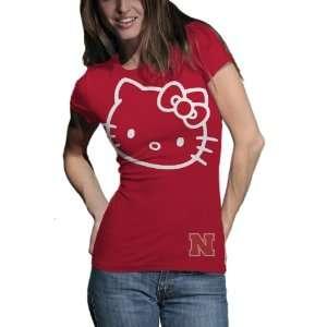 NCAA Nebraska Cornhuskers Hello Kitty Inverse Junior Crew Tee Shirt