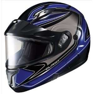 Max II Zader Snowmobile Dual Lens Shield Helmet Black Blue White 2xl