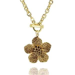 Topaz Crystal Flower Toggle Closure Necklace Fashion Jewelry Jewelry