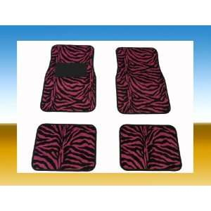 HOT PINK ZEBRA CAR FLOOR MATS 4 PCS FOR 2 ROWS FRONT & REAR MADE WITH