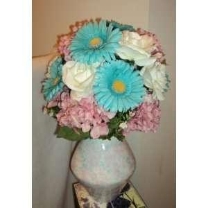 Hydrangea, Cream Rose & Turquoise Daisy Silk Flower Centerpiece Home