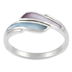 Sterling Silver Pink and Blue Mother of Pearl Ring Jewelry