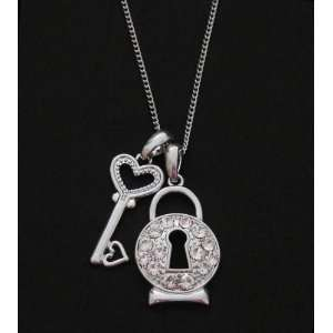 Juicy Inspired Key & Crystal Padlock Couture Charm Necklace   White
