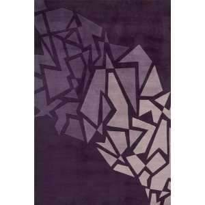 New Wave Purple Contemporary Wool Hand Tufted Area Rug 5