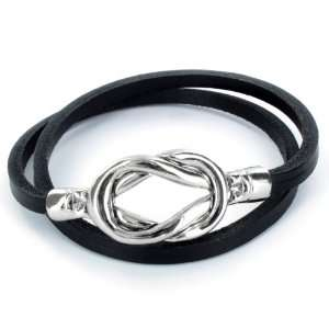 Steel Knot Double Wrap Leather Bracelet (Black) West
