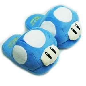 Super Mario Bros. Plush Mushroom Slippers Blue Everything