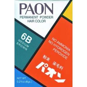 com Paon Permanen Powder Hair Color 6B Medium Brown 0.21 Oz. Beauy