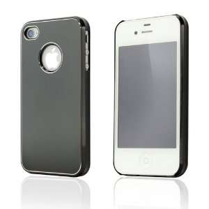 Black Metal Back Cover Case for iPhone 4/4S Cell Phones