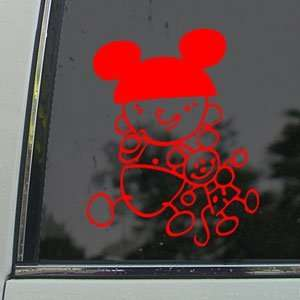 DISNEY Red Decal MICKEY MOUSE Car Truck Window Red Sticker