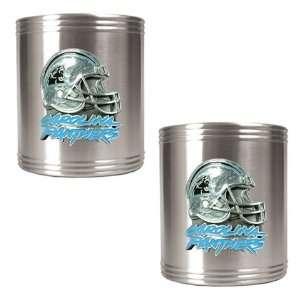 Carolina Panthers Nfl 2Pc Stainless Steel Can Holder Set  Helmet Logo