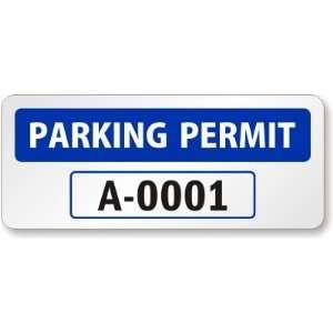 Reflecive Blue Parking Permi for Ouside of Car Window