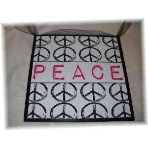 Pink Black White Peace Sign Girls Wooden Wall Decor