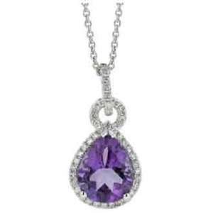 Gold 2.37cttw Round Diamond and Pear Shaped Amethyst Necklace Jewelry