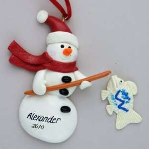 Personalized Snowman Fishing Christmas Ornament