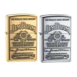 Zippo Lighter Set   Jim Beam Burbon Pewter and Brass Label