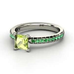 Ring, Princess Peridot 14K White Gold Ring with Emerald Jewelry