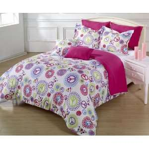 Pieces Multi Colored Peace Sign White Duvet Cover Set Queen or Full