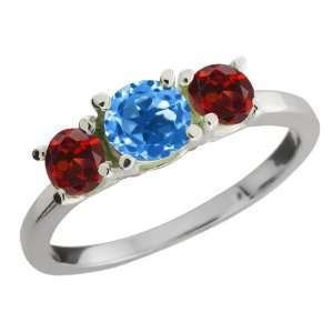 Ct Round Swiss Blue Topaz and Red Garnet Sterling Silver Ring Jewelry