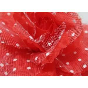 Red Rose with White Polka Dot Lace Hair Flower Clip Pin and Band 3 in