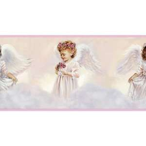 Adorable Pink White Little Angels Wallpaper Wall Border:
