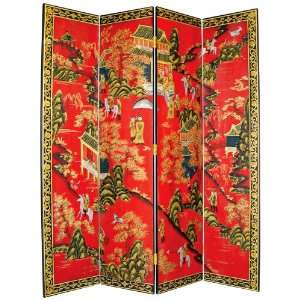 Village Hand Painted Japanese Room Divider Screen: Home & Kitchen