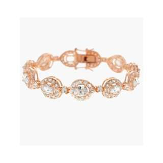 Aristocratic Rose Vermeil Gold Cubic Zirconia Teardrop Tennis Bracelet