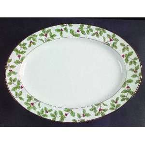 Holly And Berry Gold 13 Oval Serving Platter, Fine China Dinnerware
