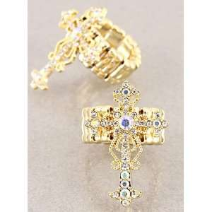 Fashion Jewelry Desinger Inspired Gold Cross Symbol Ring