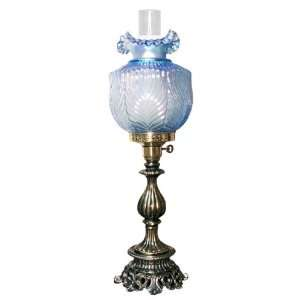 lamp with hand blown soft blue glass shade