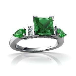14K White Gold Square Created Emerald Engagement Ring Size 8 Jewelry
