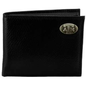 Texas A&M Aggies Black Pebble Concho Leather Billfold Wallet