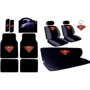 16pcs New Superman Car Seat Covers Set with Heavy Duty Carpet Floor