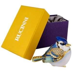 Swarovski Crystal Stunning Blue Bird Trinket Box Bejeweled Jewelry