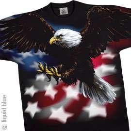 Flag Bald Eagle Black T shirt   Patriotic American Tee