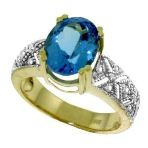 Antique Style Genuine Oval Blue Topaz & Diamond 14k Gold