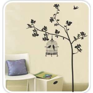 Cage Hanging On the Tree  Loft 520 Home Decor Vinyl Mural Art Wall