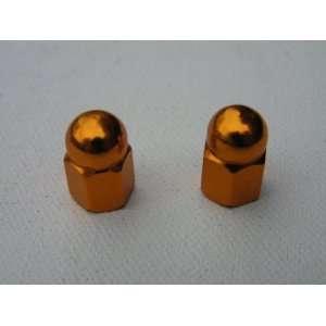 Aluminum Bicycle Valve Caps for Schraeder Valve (pair)   GOLD ANODIZED