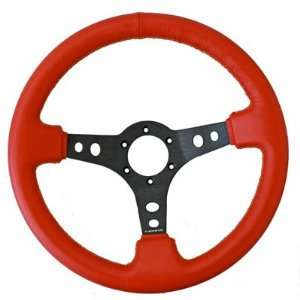 NRG Steering Wheel Race Sport Red Leather with Yellow Stitching 320mm