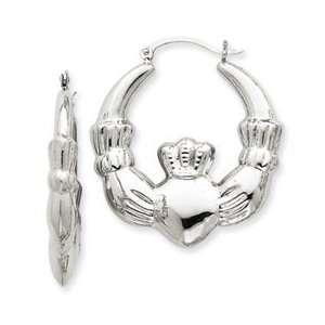 14k White Gold Claddagh Hoop Earrings Jewelry