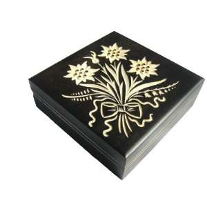 Wooden Box, 5229, Traditional Polish Handcraft, Hinged, Black with