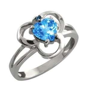 1.01 Ct Heart Shape Swiss Blue Topaz and Blue Diamond