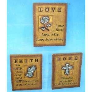 Inspirational Wall Plaque Set of 3  Love Hope Faith